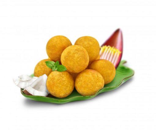 Hình ảnh ngon ngon bánh chuối nhân dừa vàng rộm