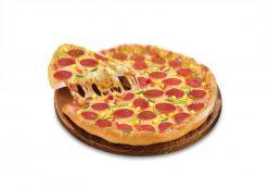 Bánh pizza nhân xúc xích nướng vàng rộm