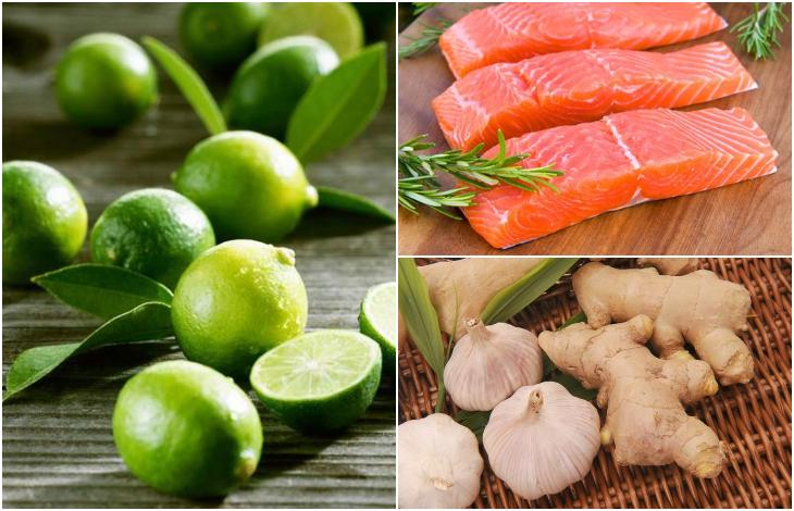 Nguyên liệu làm cá hồi sốt tiêu chanh