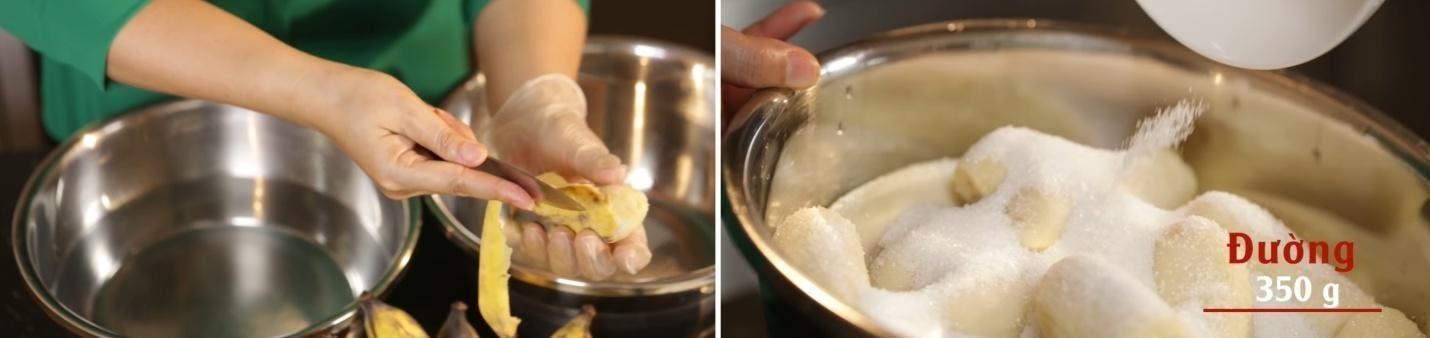 Sơ chế chuối và đường