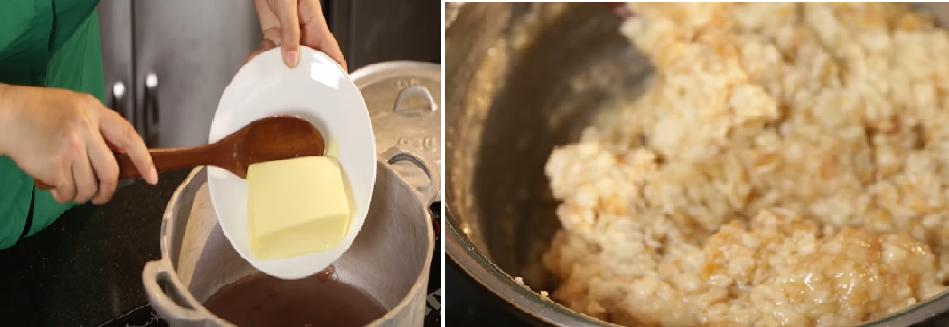 Trộn hỗn hợp nguyên liệu với chuối