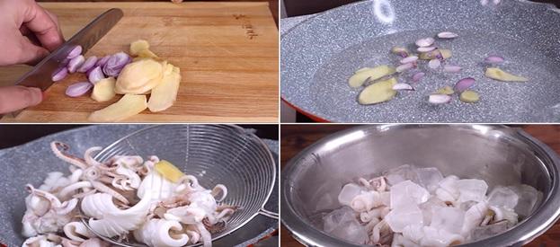 Các bước sơ chế mực xào chua ngọt
